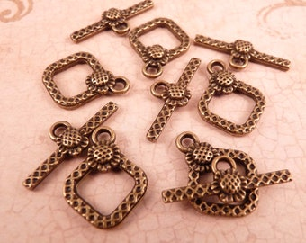 Brass Toggle Clasps Brass Findings Brass Clasp Flower Toggle Clasp Flower Clasp Brass Beads Flower Beads Metal Beads Antique Brass Clasp