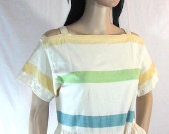 80's Striped Pastel COTTON DRESS by ESPRIT 5/6 S M