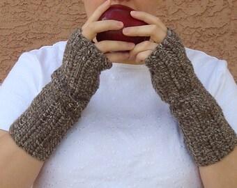 Brown Cookie Dough Fingerless Gloves for Men or Women - Crochet Fingerless Gloves, Wrist Warmers, Arm Warmers, Fingerless Mittens, Mitts