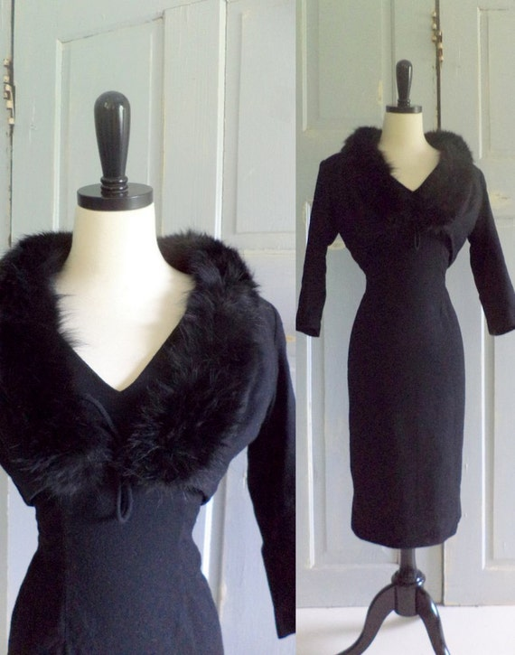 Vintage1960s Black Cocktail Dress, Womens Fitted Semi Formal Party Dress with Jacket Size Small