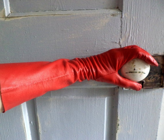 Red Leather Gloves Long Length Womens Long Red Vintage Gloves