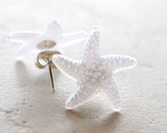 White Starfish Earrings, Bright White Star Fish Studs, Lightweight Plastic Jewelry Nautical Gifts Ocean Animals Beach Lovers Summer Vacation