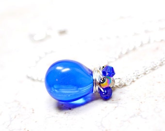 Sapphire Blue Beaded Necklace, Blue Studded Necklace, Cobalt Blue Gumdrop Necklace, Blue Teardrop Royal Blue Wire Wrapped Gum Drop Pendant