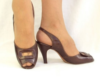 Designer High Heels, Brown Leather, Slingback, Peep Toe, 50s, Vintage