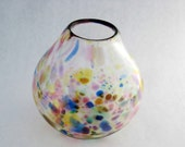 hand blown glass vase MULTICOLOR SPECKLE teardrop