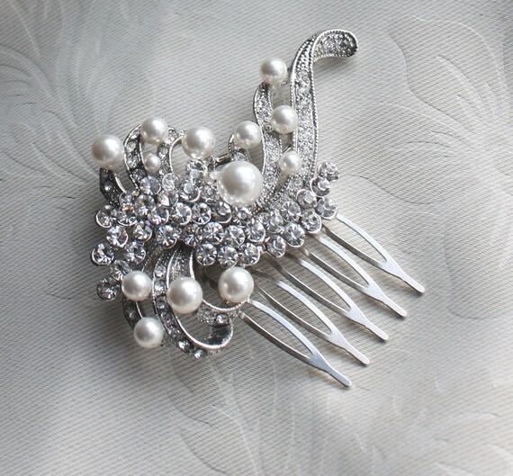 Bridal crystal Pearls Hair Brooch for wedding ,vintage inspired bridal hair comb Wedding Bridal Headpiece - Isabella