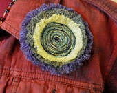 Dyed Fringed Denim Brooch Pin -Yellow Sage Green and Violet Denim Circle Corsage Brooch Pin - 25
