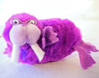Purple Walrus Christmas Ornament Decoration, 60s Mod Style Pom Pom Animal