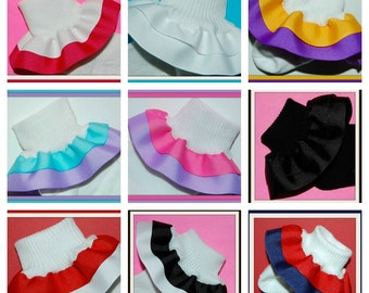 CREATE Your Own Double Ruffle Socks - 2 PAIRS made to match your outfit!- girls socks, baby socks, toddler socks, infant socks, customizable