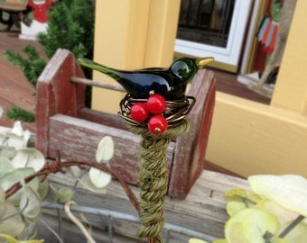 Emerald green bird with red berries plant stake, copper garden ornament or holiday decor