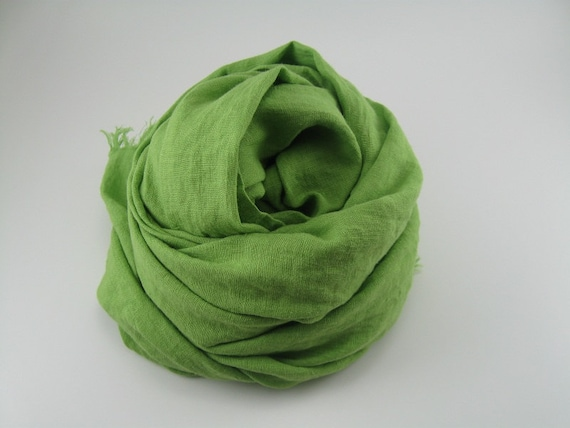 Linen Scarf --- Lime Green