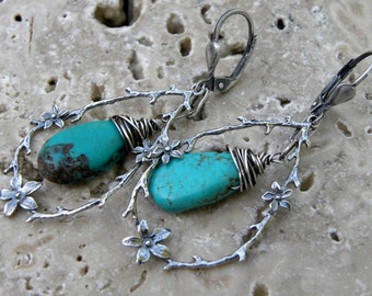 Sterling Silver Turquoise Earrings Artisan Handcrafted Wire Wrapped Flower