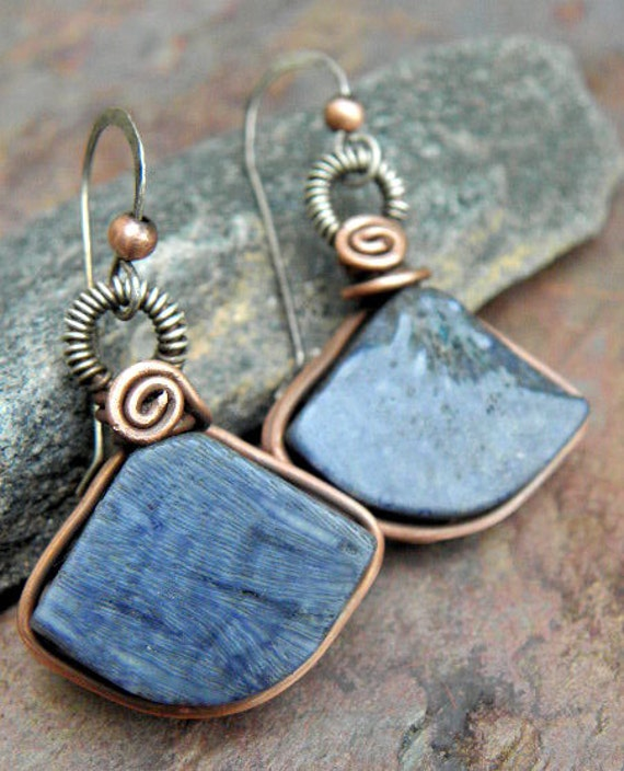 Blue Coral Fans, Blue Coral, Copper, and Sterling Silver filled earrings, ThePurpleLilyDesigns