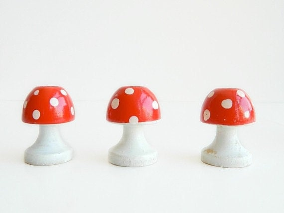 Set of 3 Wood Mushroom red and white polka dot Candle holders from Sweden