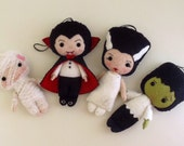 Halloween Ornaments - Dracula, Frankenstein, Bride, Mummy pdf Patterns - Instant Download