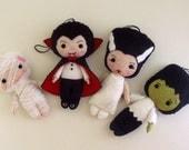 Halloween Sale!!  Ornaments- Dracula, Frankenstein, Bride, Mummy pdf Patterns - Instant Download
