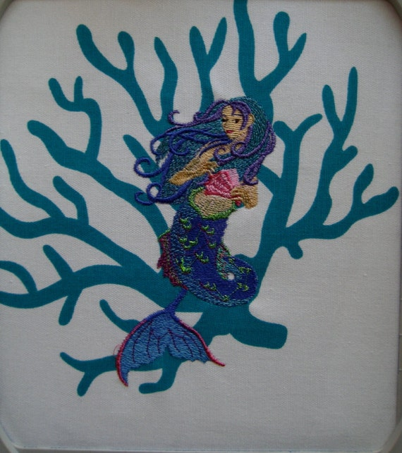 Mermaid Embroidered Quilt Block
