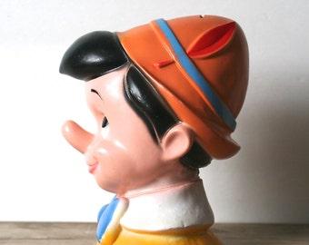 Vintage Pinocchio Head  Bank 1970s