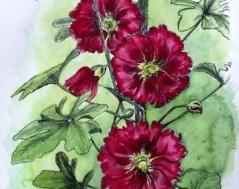 WATERCOLOR HOLLYHOCKS - Original Hand Colored Watercolor Botanical Print 11 x 14