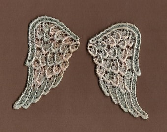 Hand Dyed Venise Lace Sweet Angel Wings Petite Appliques  Vintage Sea Blush