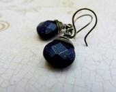 Blue Sandstone Simple Drop Earrings - Niobium