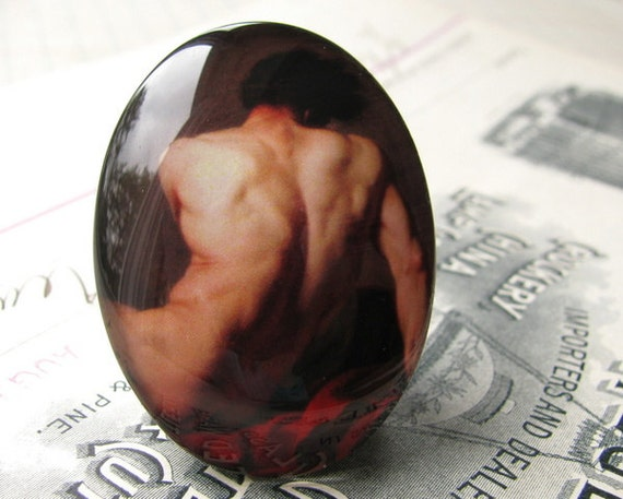 Adonis, male nude model, man, masculine back, muscles, muscular - handmade 40x30mm glass oval cabochon, shaded, tan, skin, black - 5ST11