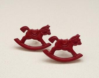 Red Rocking Horse Stud Earrings