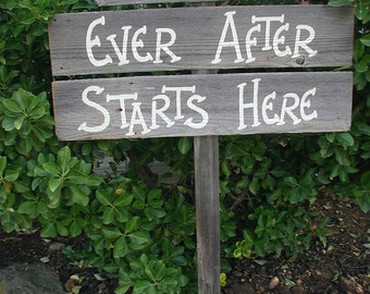 Triple Wood Board Wedding Sign Bridal Happily Ever After Starts Here Ceremony Reception