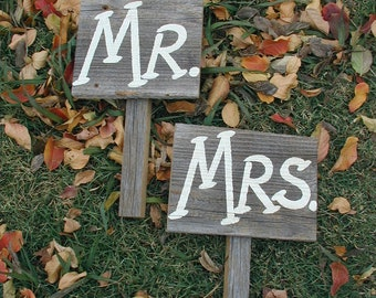 Mr and Mrs Western Rustic Wedding Sign with Handle Bridal Barn Wood Bride Groom Ready to Ship