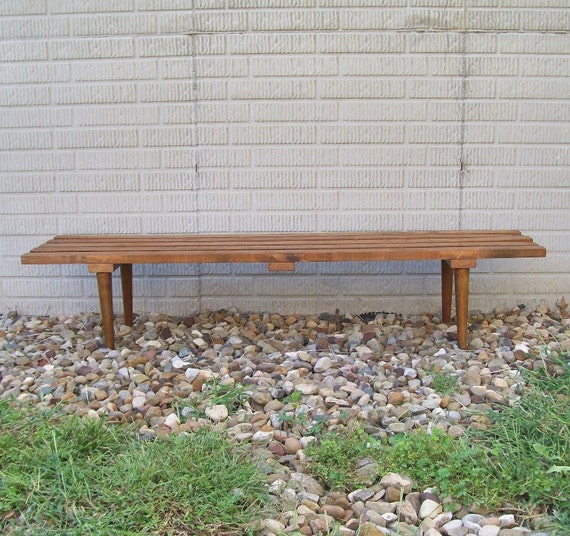vintage mid century modern furniture slat bench coffee table solid wood retro home decor brown tapered legs