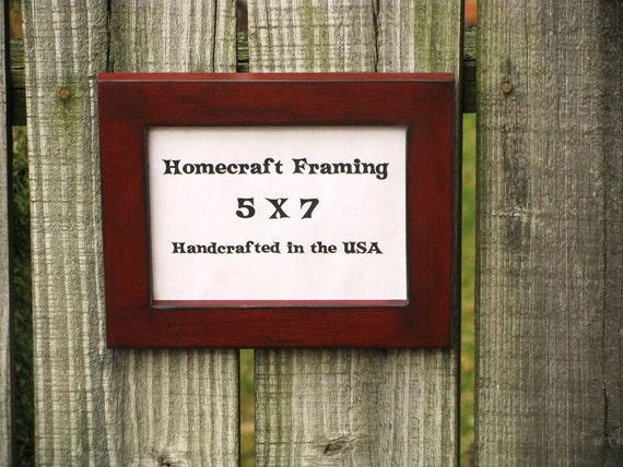 5X7 Picture Frame Distressed Wedding Frame Wood Frame Antiqued Red Cottage Chic Primitive