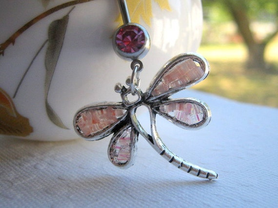 Dragonfly Belly Ring, Light Pink Body Jewelry, Dangle Belly Button Ring, Custom Color Barbell, Stained Glass Charm Piercing