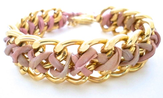 Gold Double Curb Link Chain with Strawberry Cream Silk and a Gold Plated Flower Design Toggle ... by B A L O O S