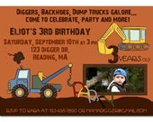 Diggers, backhoes, dump trucks birthday invitation - custom design - you print
