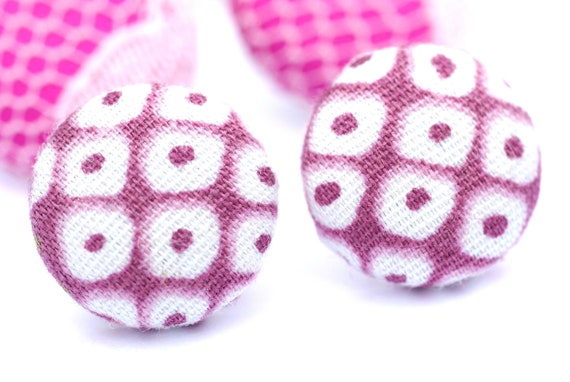 Pink Polka Dot Earrings, Button Studs, Fabric Covered Button Earrings, Surgical Stainless Steel Earrings, Pastel Pink and White