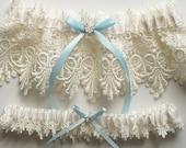 Wedding Garter Set with Blue Satin Ribbon Bow and Swarovski Crystal Centering   - The ALICIA Garter Set