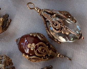 Brass Bead Caps Classic Victorian Style Ornate Large 10 or 20 pieces