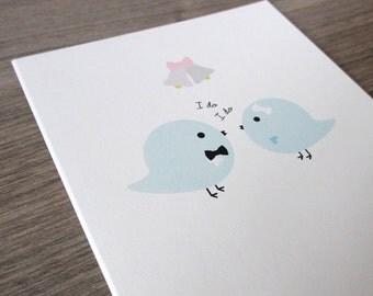 "Wedding Card - Love Birds Say ""I Do"" - Ecofriendly Card"