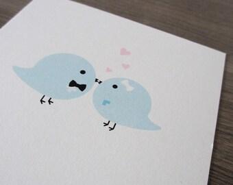 Wedding Card. Love Card - Love Birds Kissing Card. Hearts. Eco Friendly