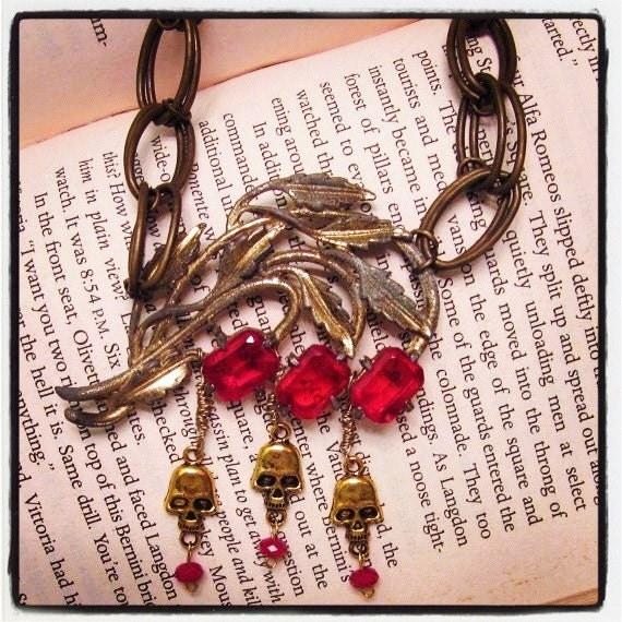 Memento Mori Necklace In Red