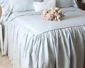 Ruffled Linen Shabby Chic Duvet Cover The Mirabelle Linen Duvet Cover in French Blue