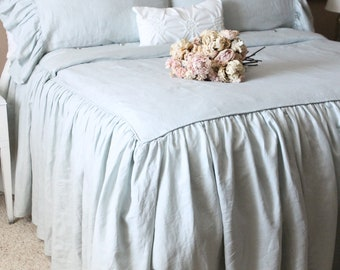 Ruffled Linen Shabby Chic Duvet Cover The Mirabelle Linen Duvet Cover in French Blue