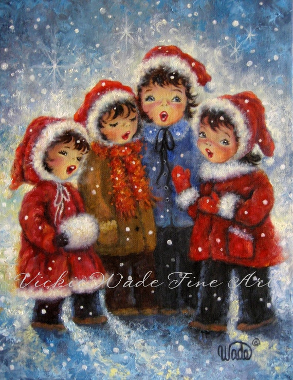 Four christmas carolers art print four by vickiewadefineart for Christmas images paintings