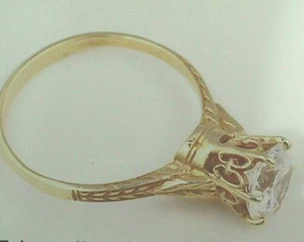 Antique Setting 18K Art Nouveau Edwardian Ring, Yellow Gold Filigree Solitaire 1.25 Carats 7mm Engagement Wedding Ring Setting Mounting