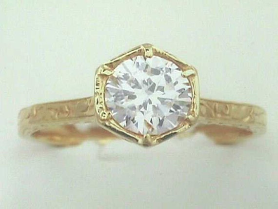 18K Art Nouveau Edwardian Engagement Ring with e by jewelry1910