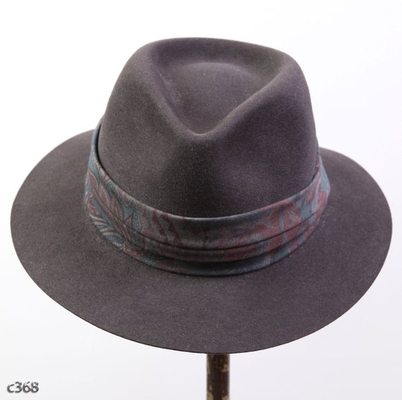 Vintage  Classic Fur Felt Trilby Hat in Dark Gray for Him or Her, M