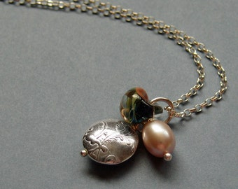 Silver Pebbles Spring Colours Necklace