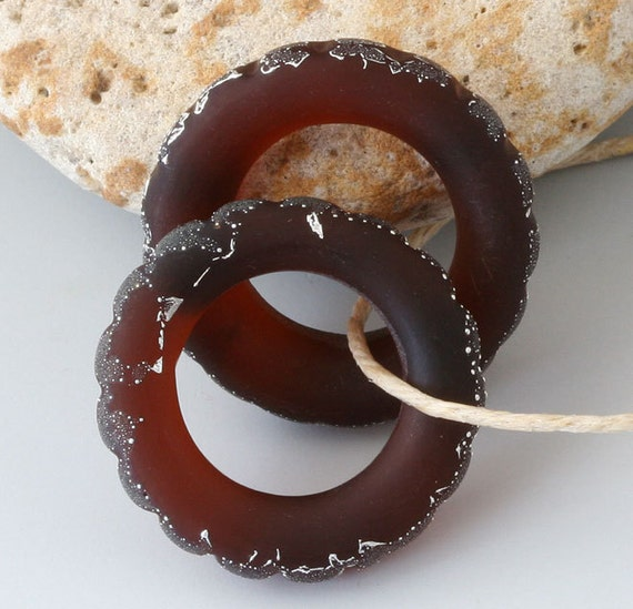 Silver Circles - (2) Handmade Lampwork Beads - Large Hoops - Etched, Matte - Rootbeer Brown
