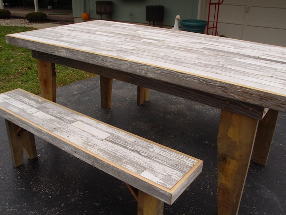 Harvest dining table barn wood furniture kitchen by - Table a picnic a vendre ...