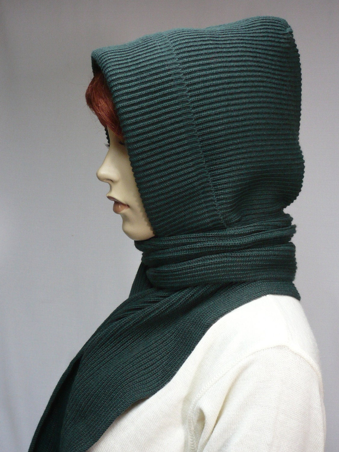 Warm Knit Hood and Shawl Combi in Dark Green Hooded Scarf for
